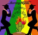 "Burning Nopal ""Rainbow Revolution"" CD cover and website link."