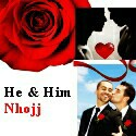 "Nhojj - ""He and Him"" cover art and website link"